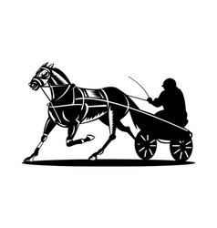 horse and jockey harness racing vector image