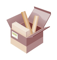 Icon box and roll of paper vector