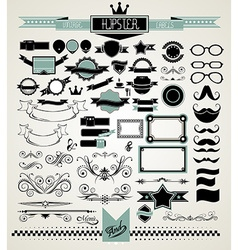 Mega Set of Vintage Labels for your Hipster vector image vector image