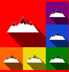 Mountain sign set of icons vector