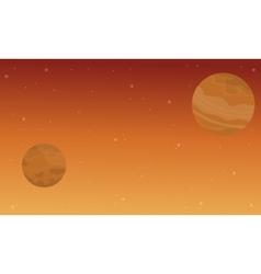 On orange background space landscape vector