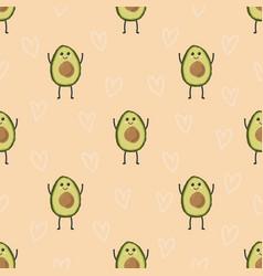pattern with cartoon avocado vector image