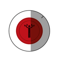 Red symbol person lifting weights gym vector