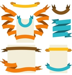 retro ribbons labels set vector image vector image
