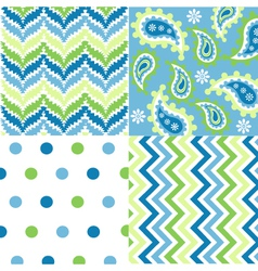 seamless patterns with fabric texture vector image