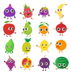 smiling fruit icons set cartoon style vector image vector image