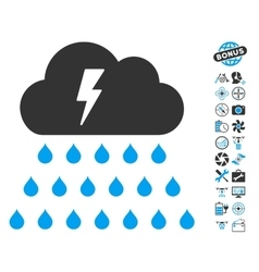 Thunderstorm Rain Cloud Icon With Copter Tools vector image vector image