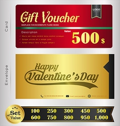 Valentine Day Gift voucher template vector image vector image