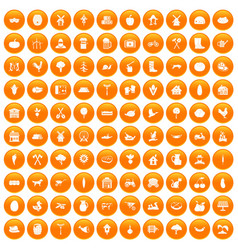 100 farm icons set orange vector