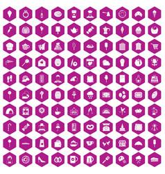 100 patisserie icons hexagon violet vector