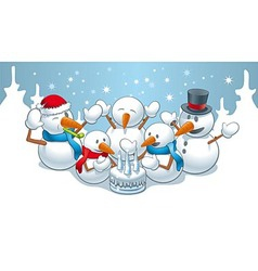 Birthday snowmen vector
