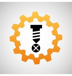 Construction gear icon screw fixing vector