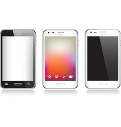 Set of three realistic mobile phone isolated on vector image
