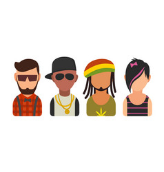 Set icon different subcultures people hipster vector