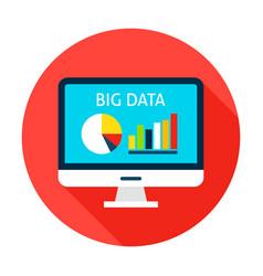 Big data computer flat circle icon vector