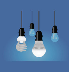 Regular cfl and led bulb vector