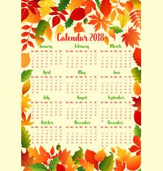 Autumn calendar template with fall leaf frame vector
