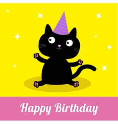 Cute cartoon black cat with hat card vector
