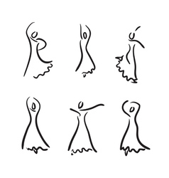 Flamenco dancer sketch set vector