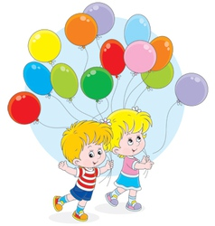 Children with colorful balloons vector