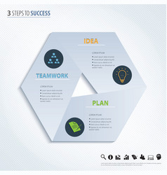 Three steps to success design element vector