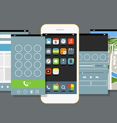 Modern smartphone with different application scree vector image