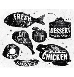 Eat symbol vintage lettering eggs apple chicken vector