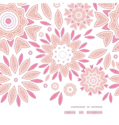 Pink abstract flowers horizontal frame seamless vector