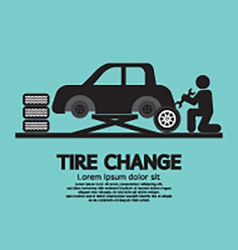 Person changing automobil wheel tire graphic vector