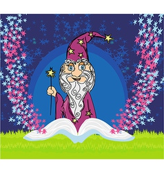 funny wizard and magic book vector image
