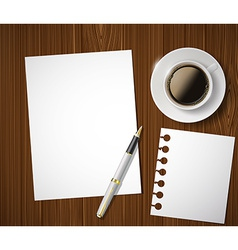 sheet of paper and a cup of coffee on a wooden vector image