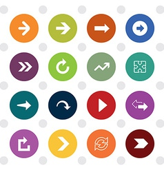 Arrow sign icons colored circle shape vector