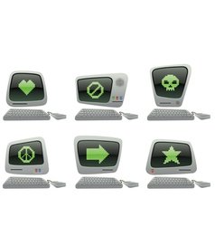 retro computer icon set with random symbols vector image