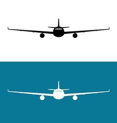 Passenger plane front view black silhouette vector