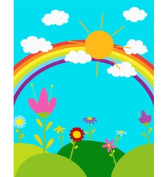 Rainbow in the sky vector