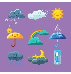 Childish weather icon set vector