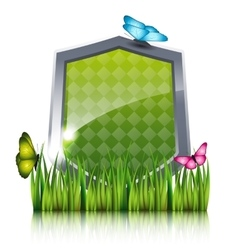 Green shield with flying butterflies by the grass vector