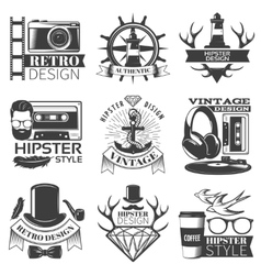 Black hipster emblem set vector