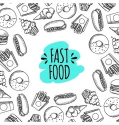 Fast food set of cartoon background vector