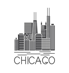 Chicago illinois usa skyline line art vector