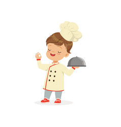 cartoon character of boy in chef uniform and hat vector image
