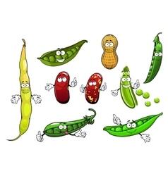 Cartoon isolated peas beans and peanut vector