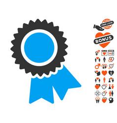 certification icon with love bonus vector image