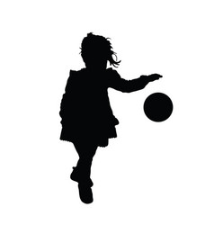 Child silhouette playing with ball vector