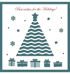 Christmas card template with laser cutting vector