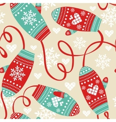 Colorful pattern with cute mittens vector image vector image