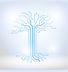 digital tree made of circuits vector image vector image