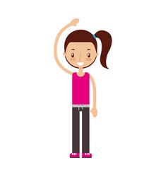 Fitness girl exercising vector
