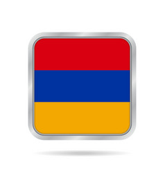 flag of armenia shiny metallic gray square button vector image vector image