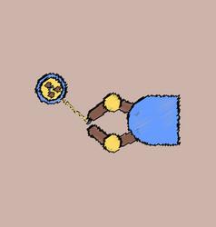 Flat icon design collection molecules and robot vector